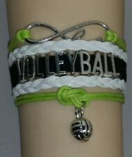 Volleyball Leather Charm Bracelet - Green/White/Black - Sports - Customize #172