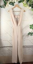 Lioness By Nasty Gal Lady in the Streets Cutout Plunging Jumpsuit Beige Size M