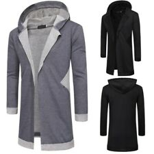 Men's Casual Long sleeve Hooded Jacket Cardigan Trench Coat Mid Length Outwear D
