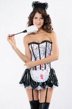 Bloody Zombie Cobwebs French Maid Sexy Garter Roleplay Halloween Costume 8630