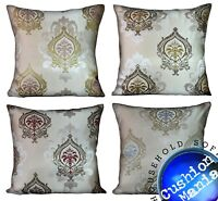 "Large Cushions or covers SET OF 4 Cream vintage Damask 22"" x 22"""
