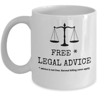 Lawyer coffee mug - Free legal advice - Funny advocate attorney at law joke gift