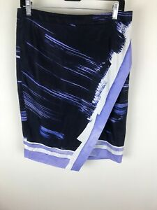 Banana Republic Sz 6 Black Purple A Line Skirt