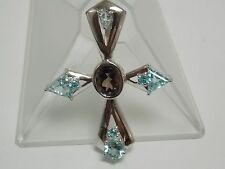 Smoky Quartz & Blue Topaz Fashion Cross Pendant on Silver