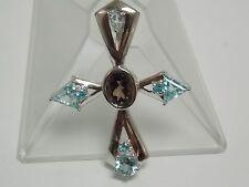 Smoky Quartz & Blue Topaz Fashion Cross Pendant on Silver