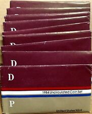 LOT OF TEN (10) 1984 US MINT SETS -- 100 UNCIRCULATED BU COINS IN MINT CELLO P+D