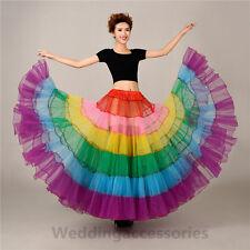 Multi-Color Long Petticoat Crinoline No-Hoop Underskirt Wedding Dress Full Slip