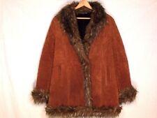 Wilsons Pelle mid length brown suede leather faux fur jacket / women slim L /b50