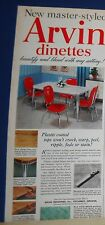 1950 ARVIN chrome dinette Ad vintage kitchen table/chairs