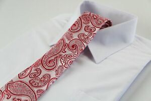 Mens Light Pink & Red Paisley Patterned 8cm Neck Tie