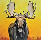 """8""""X 8"""" Original oil Painting of a Moose and Chickadees by Ty Livingston"""
