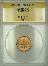 1938-H Guernsey 1D Double Copper Coin ANACS MS-65 RB Red-Brown Gem BU
