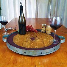Wine Barrel Head Lazy Susan Turntable W/ Steel Hoop Rustic Furniture Pub Bar