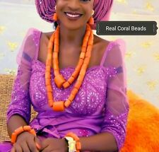 Traditional Real Coral Beads 2 layers Necklace Wedding Bridal Nigerian Jewellery