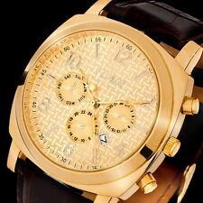 TOP XXL Herrenuhr Stahl Gold Datum Leder Flair Design Armbanduhr Uhr