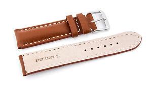 Wrist Watch Bands Watchband Bracelet Watch Strap Braun with White Seam 20mm