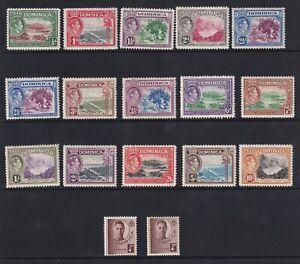 Dominica 1938 definitives SG99-109a - incl both ½d's & 2½d shade - MNH