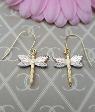 9ct Three Colour Gold Dragonfly Drop Earrings GIFT BOXED