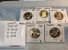2008 - John Q. Adams $1 Golden Dollar 5-coin Set (S, P, P, D, D)