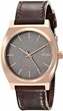 Nixon Men's Time Teller A0452001-00 37mm Black Dial Leather Watch