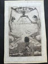 Greiner. ex libris incisione di Otto GREINER 1869-1916 per Paul Hartwig