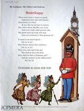 1962 Guinness SENTRILOQUY Beer Advert (523H) Gilbert & Sullivan Series Print AD