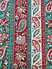 """Pair Vintage paisley 80s unlined cotton Curtains floral green red cream W63 L51"""""""