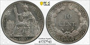 1900-A 10C CENTIMES FRENCH INDO CHINA LEC-142 PCGS MS62 #42757643 KM#9