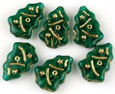 10 Czech Christmas Tree Green Gold Inlay Pressed Loose Craft Glass Beads 7x17mm
