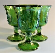 4 Indiana Glass Harvest Grape Carnival Wine Glass Footed Goblet Iridescent Green