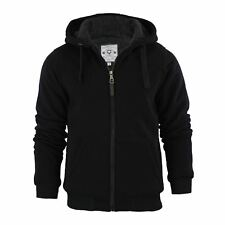 Mens Hoodie Brave Soul Zone Sherpa Fleece Lined Zip up Hooded Sweater Black Large