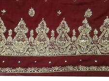 Om Vintage Indian Sari Georgette Hand Beaded Zardozi Maroon Saree ZA10990