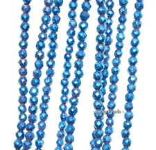 """3MM BLUE PYRITE GEMSTONE BLUE FACETED ROUND 3MM LOOSE BEADS 7.5"""""""