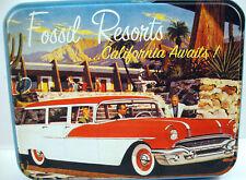 Fossil Resorts Tin Box California Awaits 1950s Nomad Station Wagon Red White