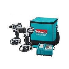 Cordless Drill Driver 2pc Combo Set Makita 18V Compact Rapid Recharger Batteries