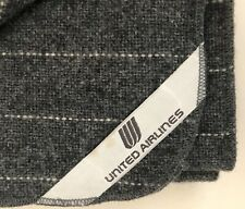 FARIBO UNITED AIRLINES Gray Pinstripe Travel Blanket Throw Vintage EUC!