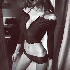 Black Bikini 3 Piece Set Push Up Halter Scallop Size 6 8
