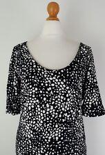 Women's Black & White Dress Large Ladies H&M Size 18/20 Euro Large