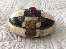 Vintage Bone and Brass Oval Box with Blue Velvet Lining with Ruby Glass Stone