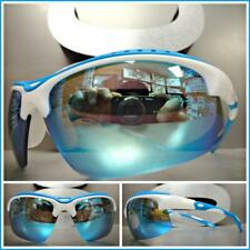 Men's WRAP AROUND SPORTY CYCLING SUN GLASSES White & Blue Frame Blue Mirror Lens