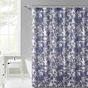 Fabric Shower Curtain for Bathroom Pruple Gray Floral Design 72IN x72 in