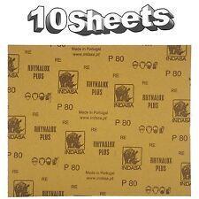 Indasa Rhynalox Plusline Production Paper P80 grit Sand Paper x 10 Sheets