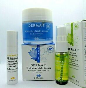 Derma-E Hydrating Night Cream Blue Light Shield Spray Vitamin C Serum Cream Lot