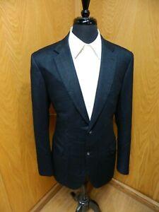 Mens Blazer Sport coat Jacket Brioni 44r Blue Herringbone Wool & Silk S#139