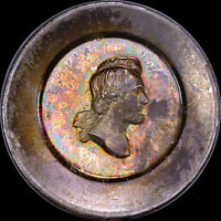 DAZZLING & RARE ABRAHAM LINCOLN MEDAL-TOKEN, SILVER 1865 UBER-TONED R-9 CWT
