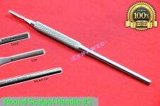 ROUND SCALPEL HANDLE #3 GERMAN STAINLESS WITH GRIP SURGICAL VETERINARY DENTAL
