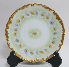 T&V Limoges France Hand Painted Plate Large Daisies Heavy Gold Factory Done