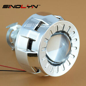 1.8'' Micro HID Bixenon Projector Lens Headlight H4 H7 +Mini Gatling Gun Shrouds