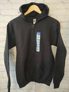 Gildan Youth Full Zip up Hoodie Sweatshirt XL Black Soft  - Brand New
