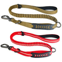 Dual Handle Strong Dog Lead Adjustable Reflective Stitching Bungee Long Leash